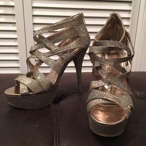 Forever21 platform cage heels in sparkle gold